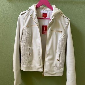 White faux leather jacket- Guess NWT